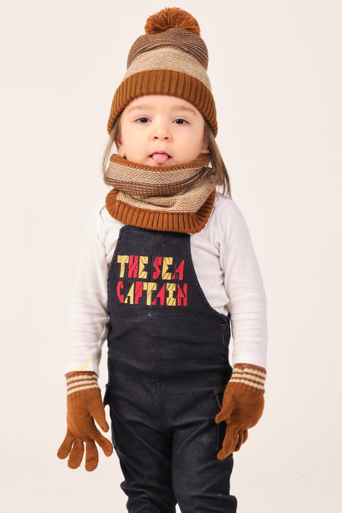 Suve Çocuk Kahverengi Şapka Eldiven Boyunluk Seti 2