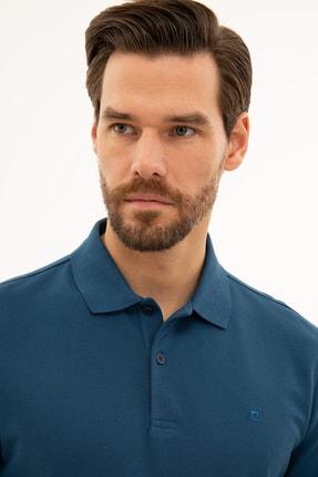 Pierre Cardin Erkek Açık Lacivert Slim Fit Polo Yaka Sweatshirt