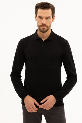 Pierre Cardin Erkek Siyah Slim Fit Polo Yaka Sweatshirt
