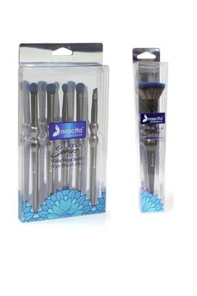 nascita 5'li Göz Fırçası Seti Ocean + Tampon Fırça Make Up Brush Ocean 0218 Kzmprt