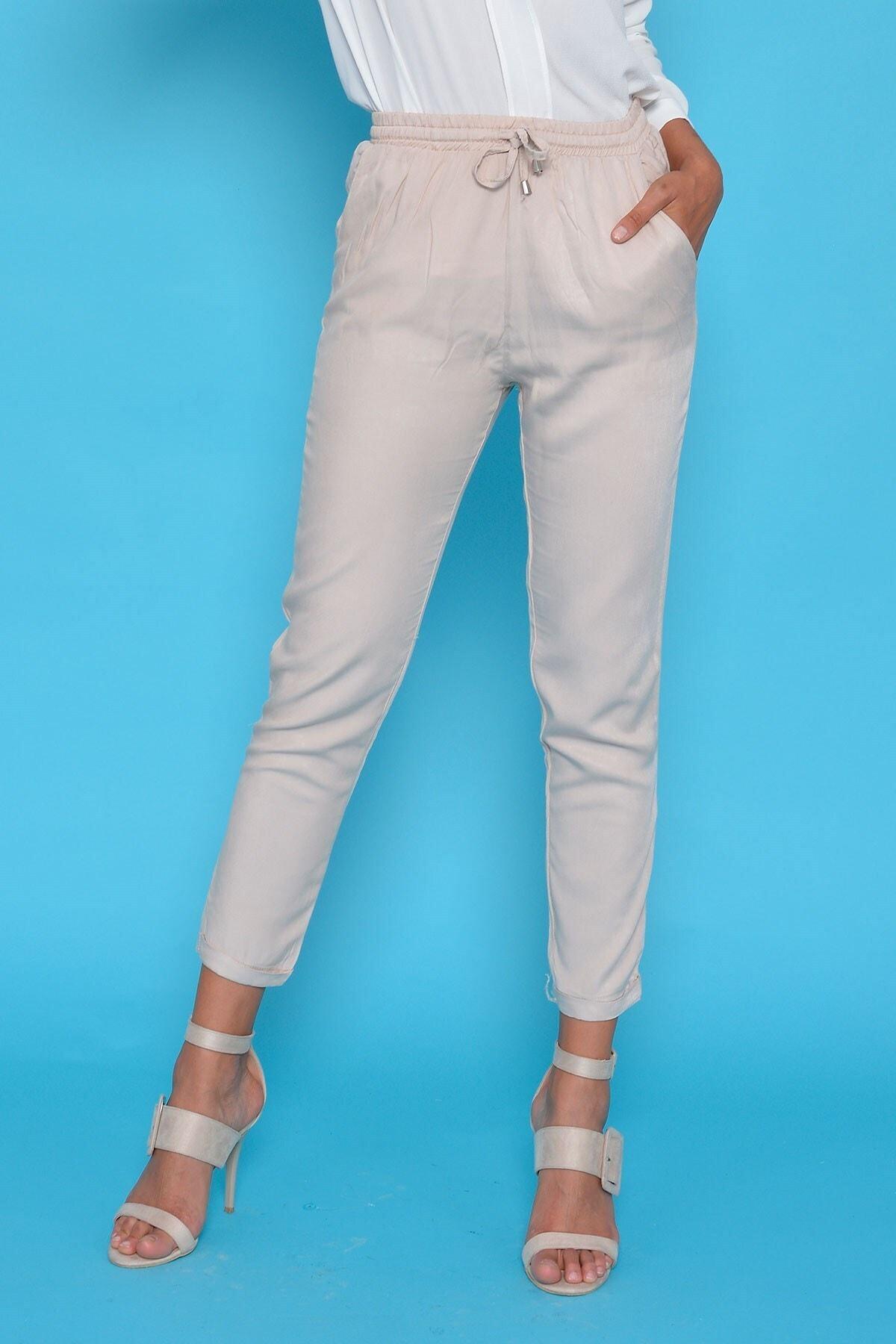 Mossta Kadın Bej Bel Lastikli Pantolon 1