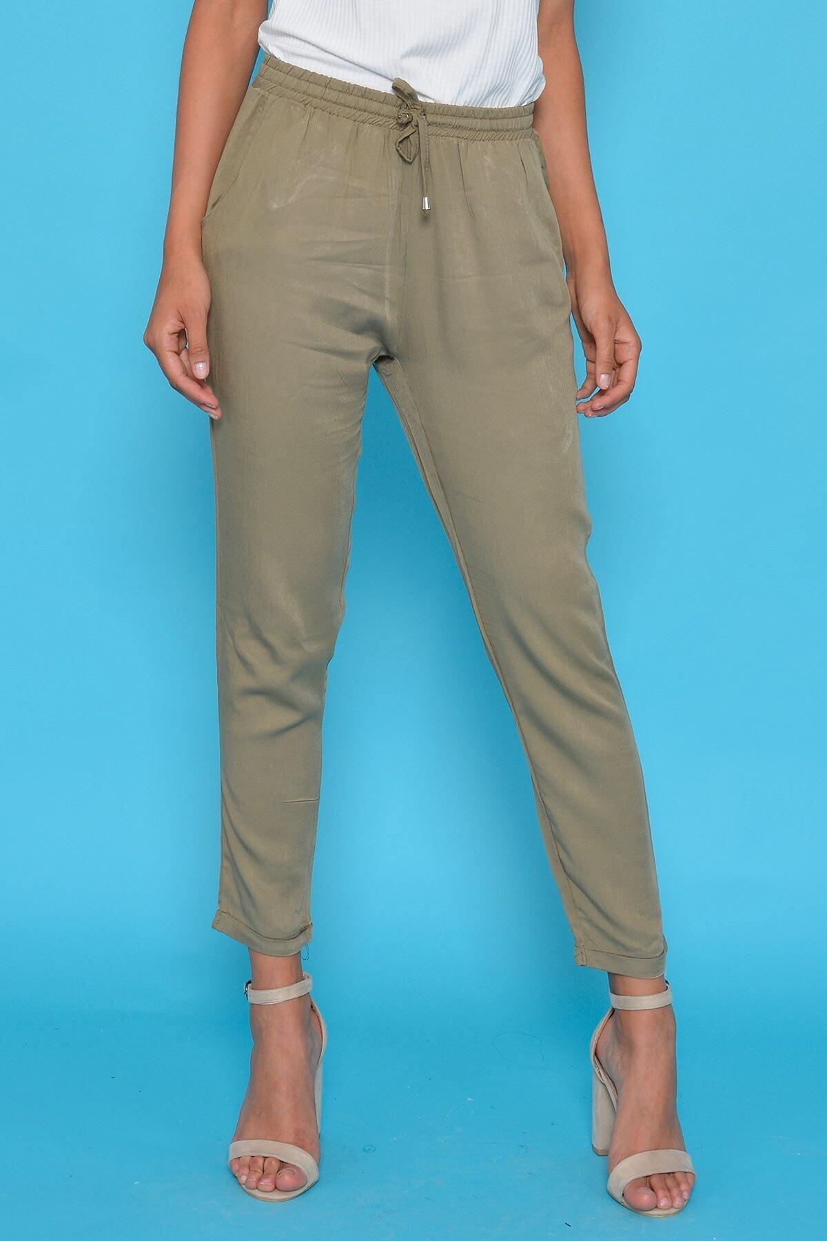 Mossta Kadın Haki Bel Lastikli Pantolon 1