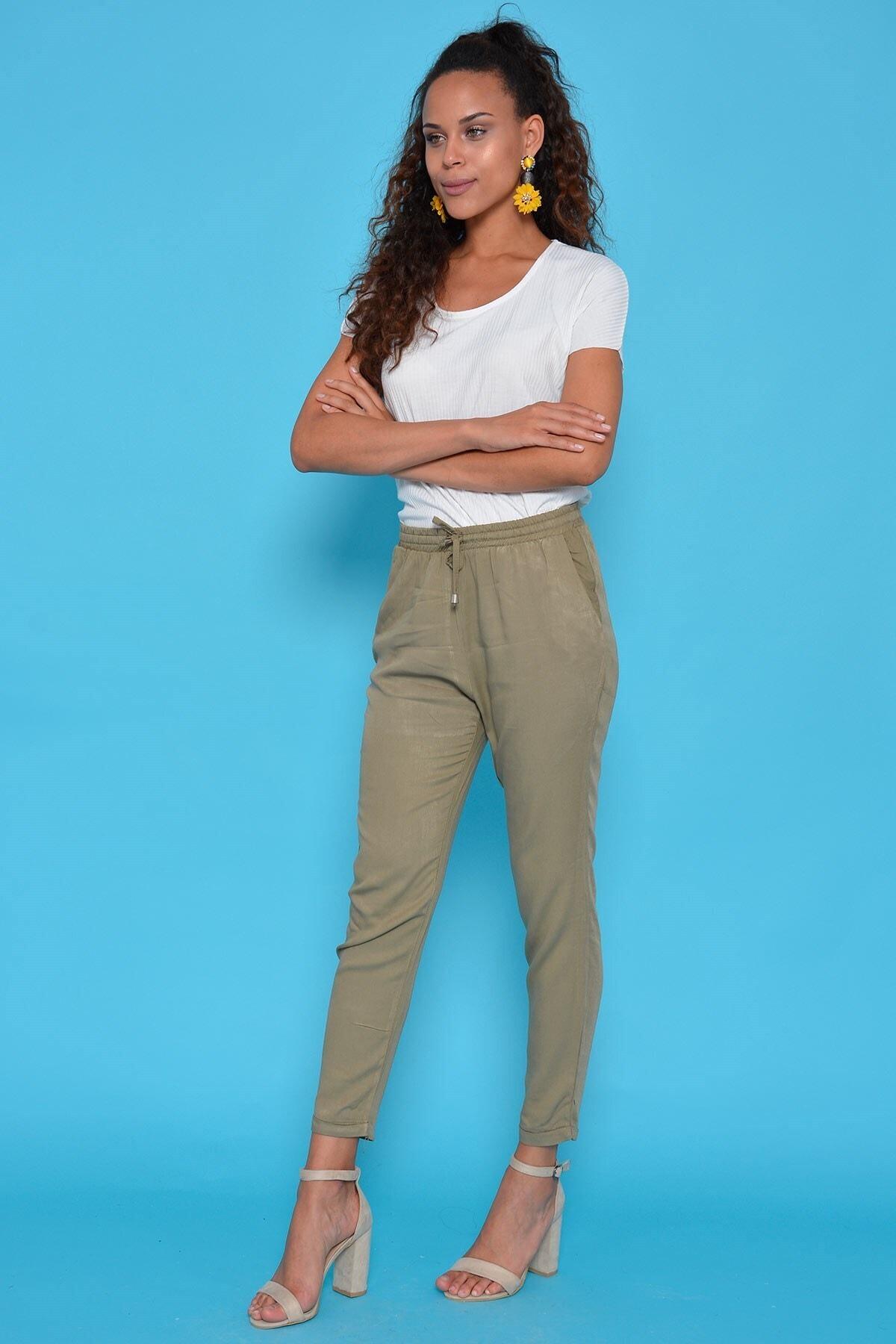 Mossta Kadın Haki Bel Lastikli Pantolon 2
