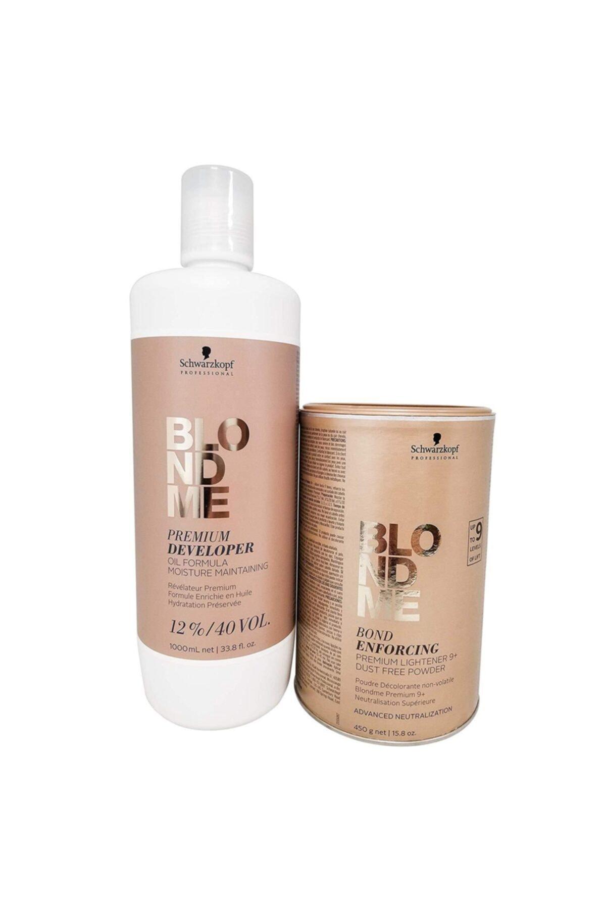 SCHWARZKOPF HAIR MASCARA Blondme Premium Lift+9 Açıcı 450 G + Oksidan %12 40 Volume 1000 Ml 1