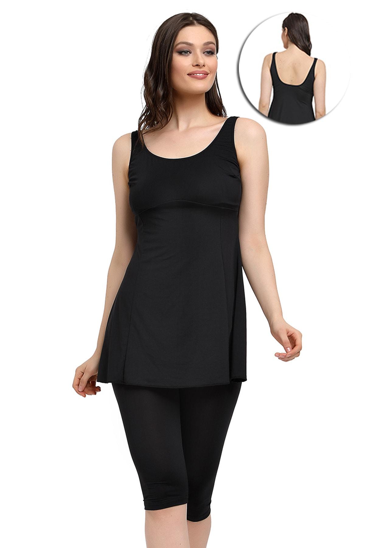 Mossta Kadın Siyah Likralı Taytlı Elbise Mayo 1