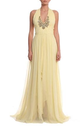 Marchesa Notte Kadın Sarı Gece Elbisesi