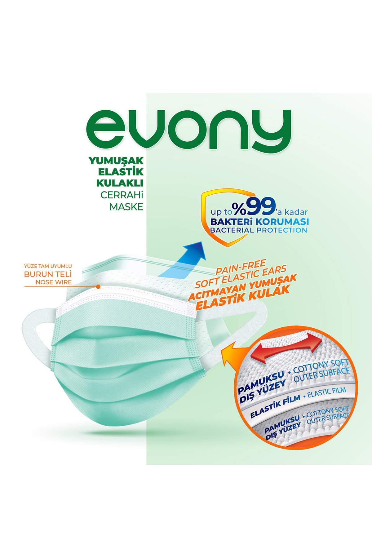 Evony 3 Katlı Filtreli Burun Telli Cerrahi Maske 100 Lü Set (yumuşak Elastik Kulaklı) 2