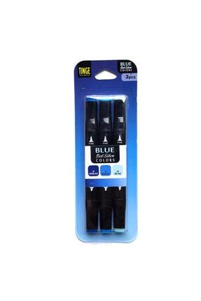 Tinge 3 Lü  Çift Uçlu Marker Seti Blue mbl3