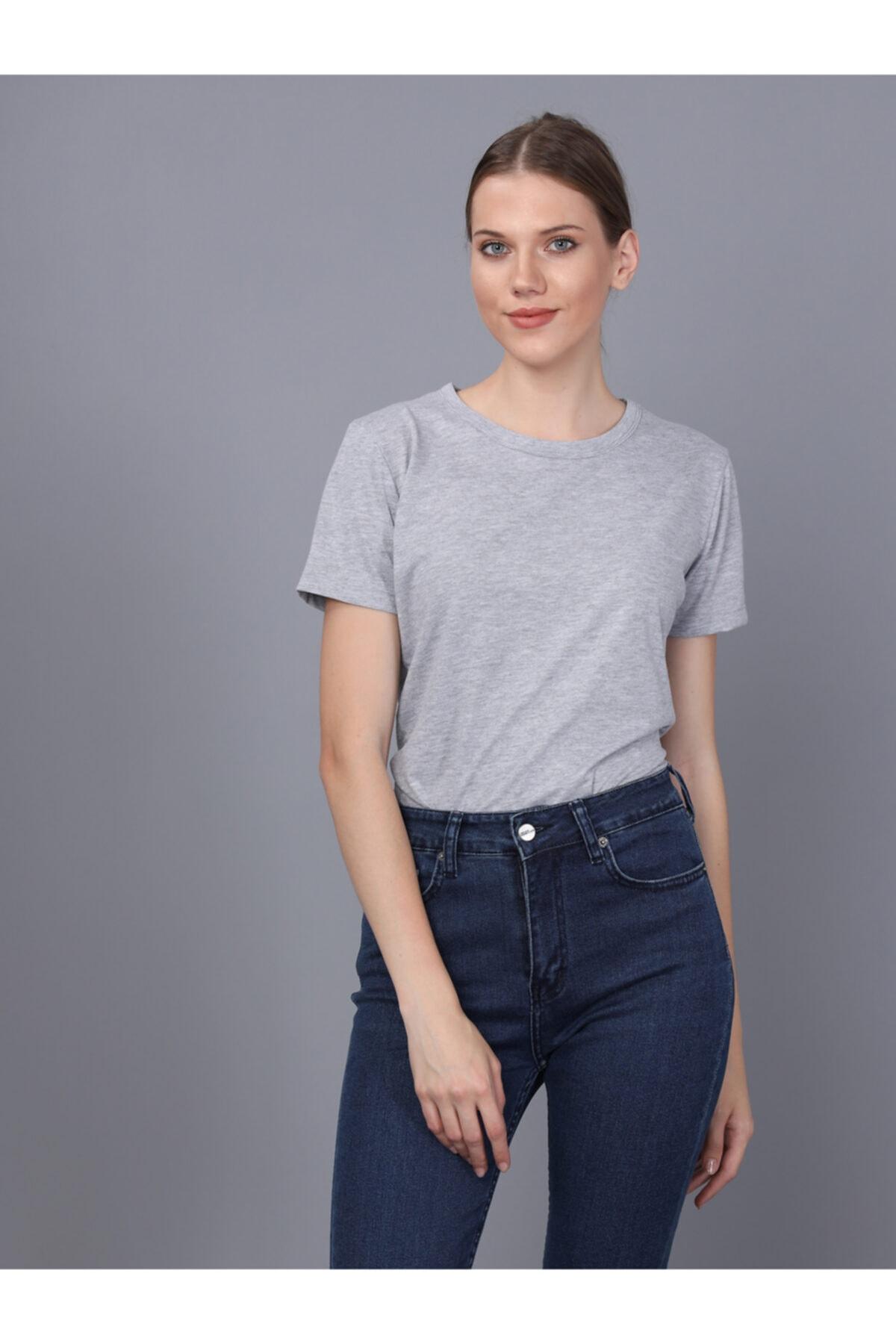 Basics&More Kadın Gri Bisiklet Yaka T-shirt 1