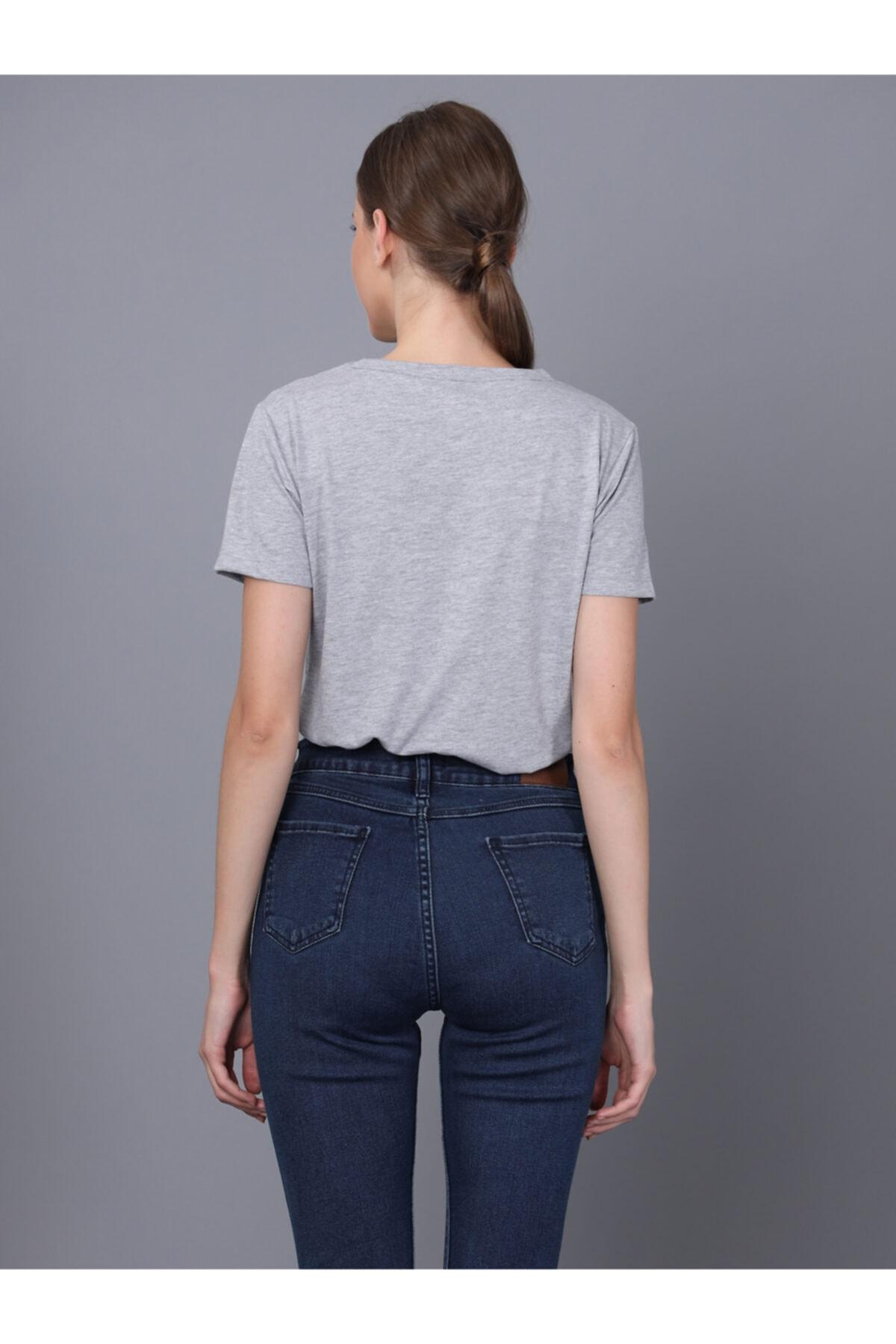 Basics&More Kadın Gri Bisiklet Yaka T-shirt 2
