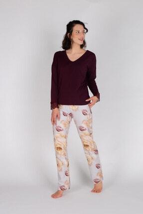 Hays Kadın Bordo Penye Uzun Pijama Takımı