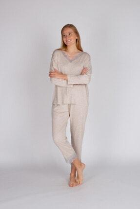 Hays Kadın Bej Büyük Beden Modal Dantel Detaylı Uzun Pijama Takımı