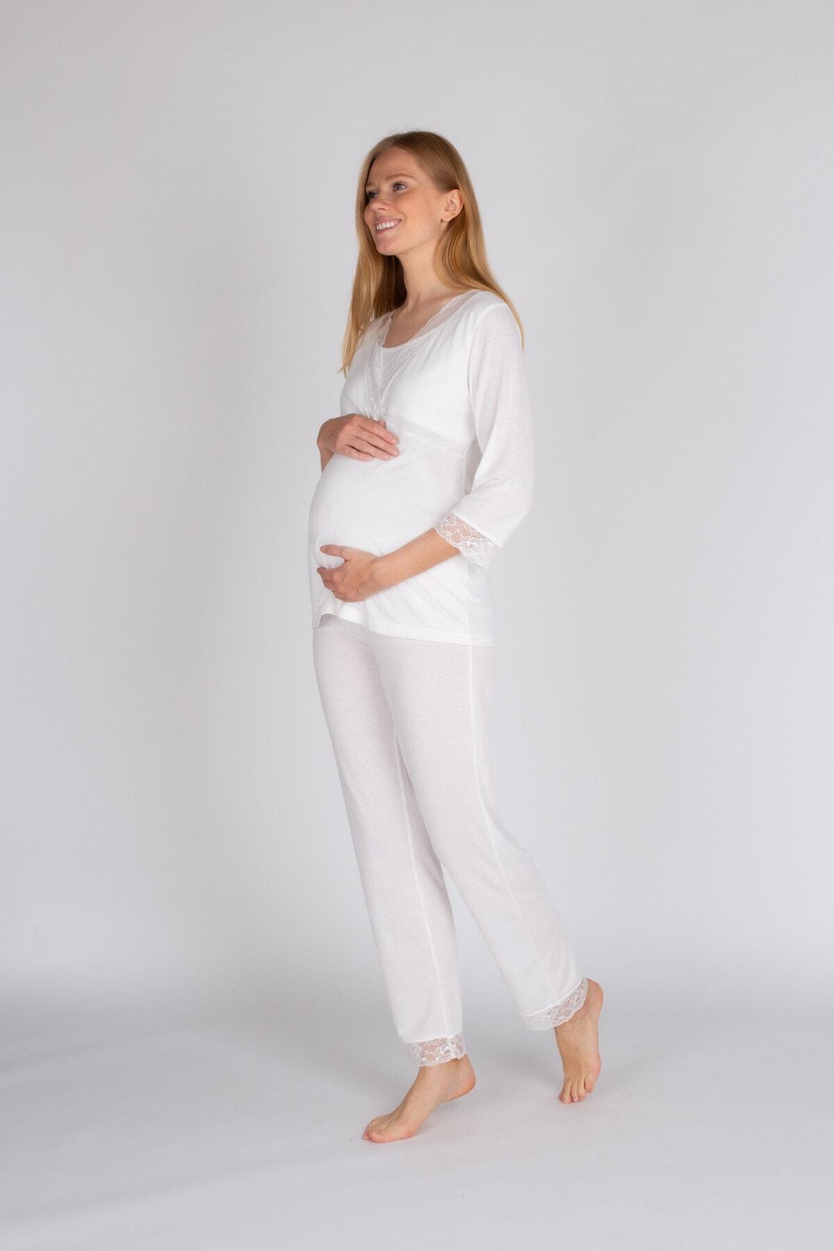 Hays Kadın Beyaz Uzun Pijama Takımı 2