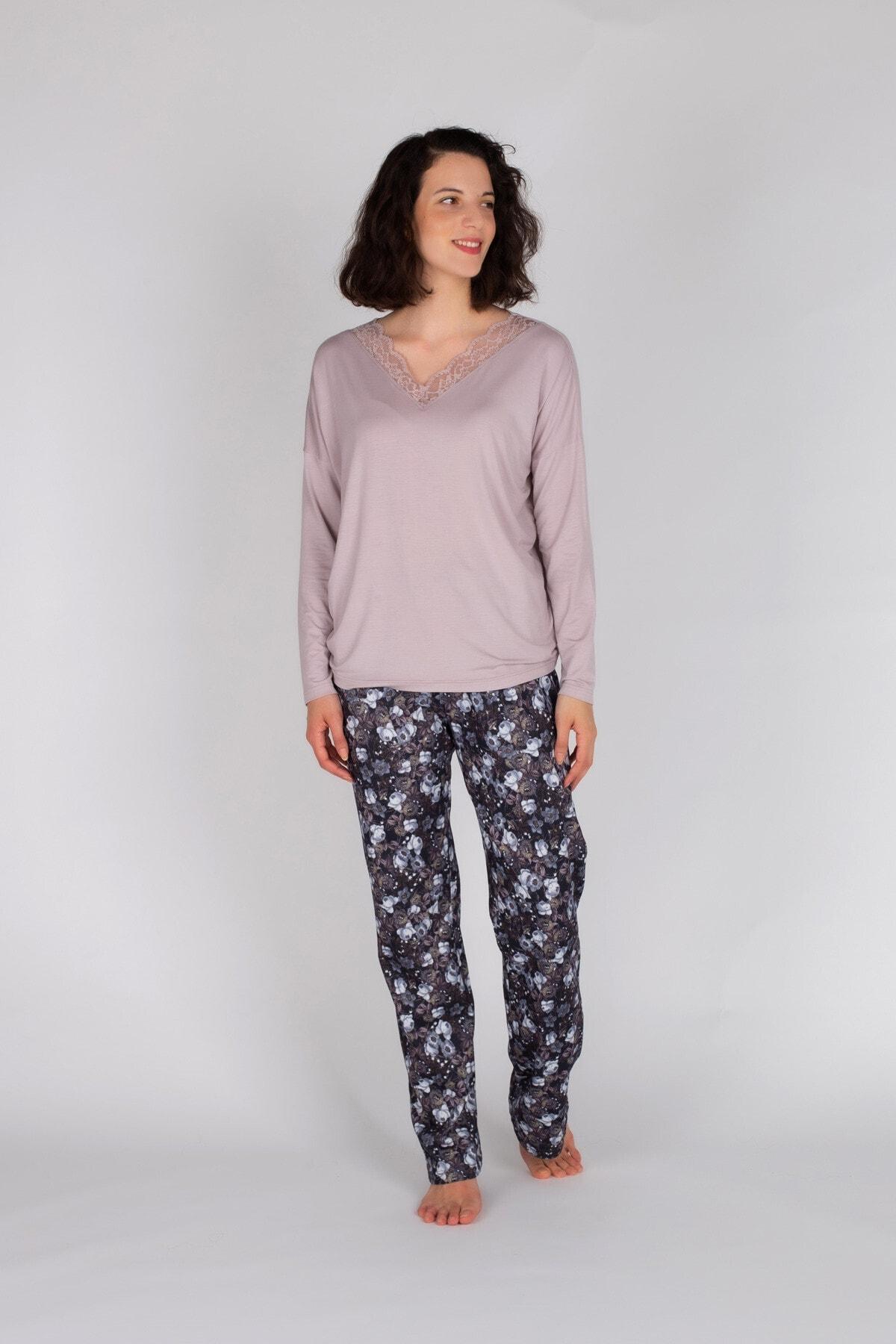 Hays Kadın Lila Uzun Pijama Takımı 1