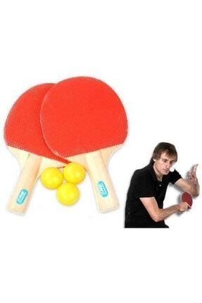 Çokuygunuz Eğlenceli Masa Tenisi 2 Raket 3 Pinpon Top Set Asorti