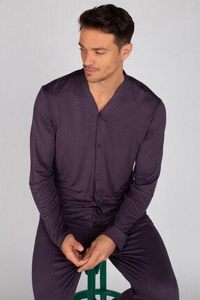 Hays Erkek Mor Uzun Viskon Pijama Takımı