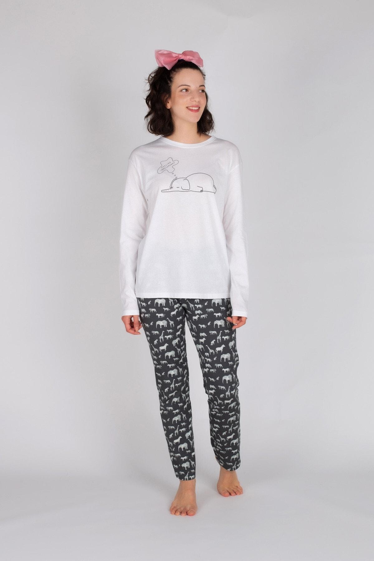 Hays Kadın Gri Pamuklu Uzun Pijama Takımı 1