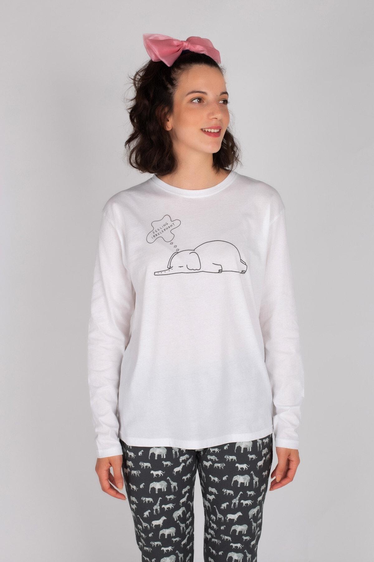 Hays Kadın Gri Pamuklu Uzun Pijama Takımı 2