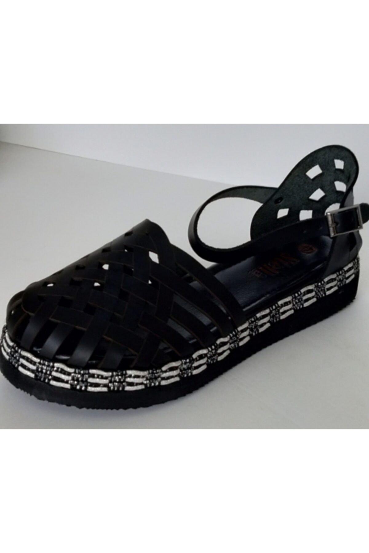 Stella Kadın Siyah Deri Sandalet 1
