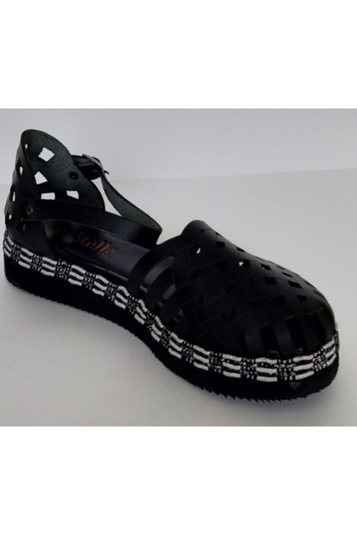 Stella Kadın Siyah Deri Sandalet 2