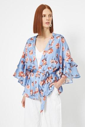 Koton Kadın Mavi Desenli Ceket 0YAK52512UW