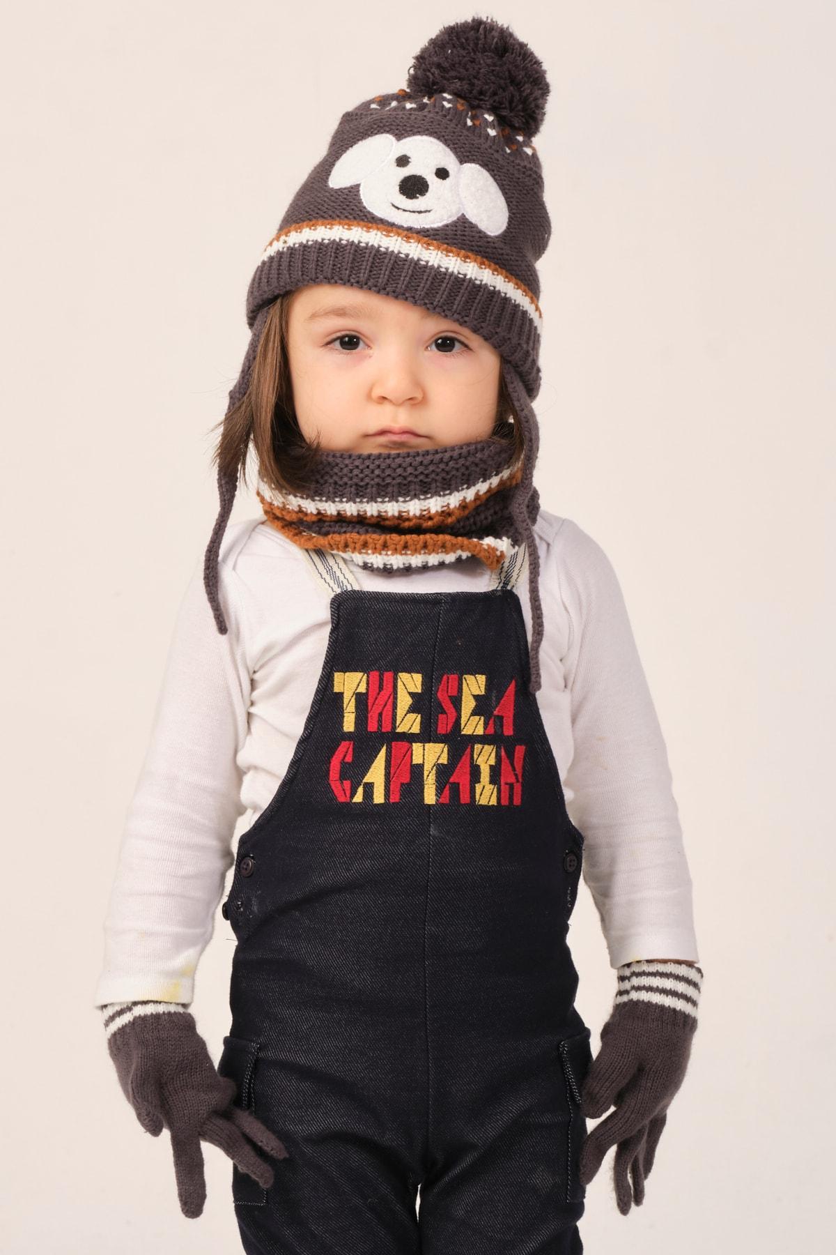 Suve Çocuk Kahverengi Şapka Eldiven Boyunluk Seti 1