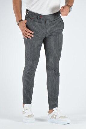 Terapi Men Erkek Gri Çizgili Slim Fit Keten Pantolon 20k-2200378