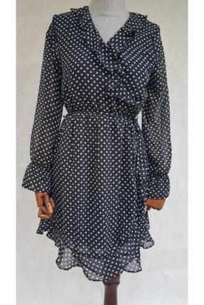 BEBE PLUS Kadın Siyah Puantiyeli Şifon Elbise
