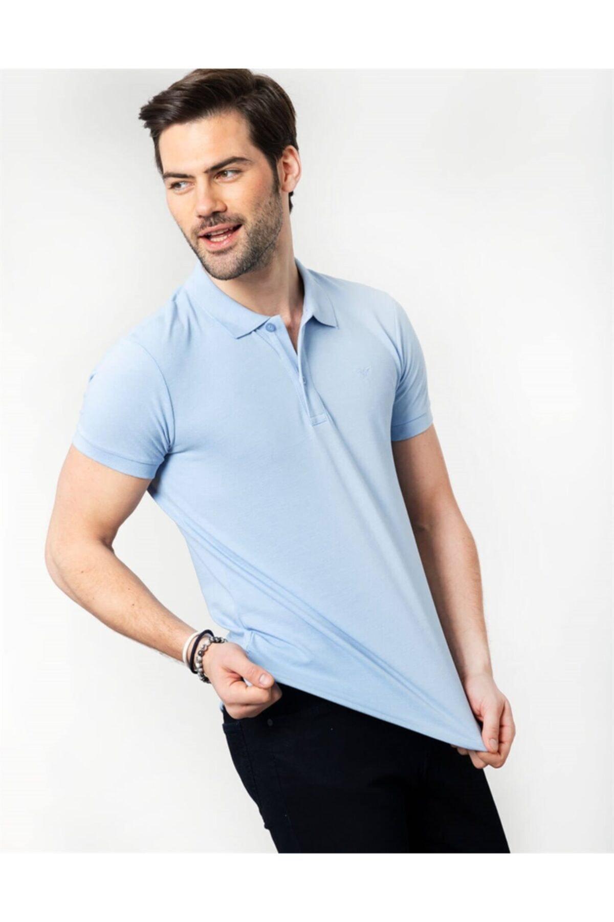 Tudors Erkek Turkuaz Polo Yaka Düz Spor T-shirt 2