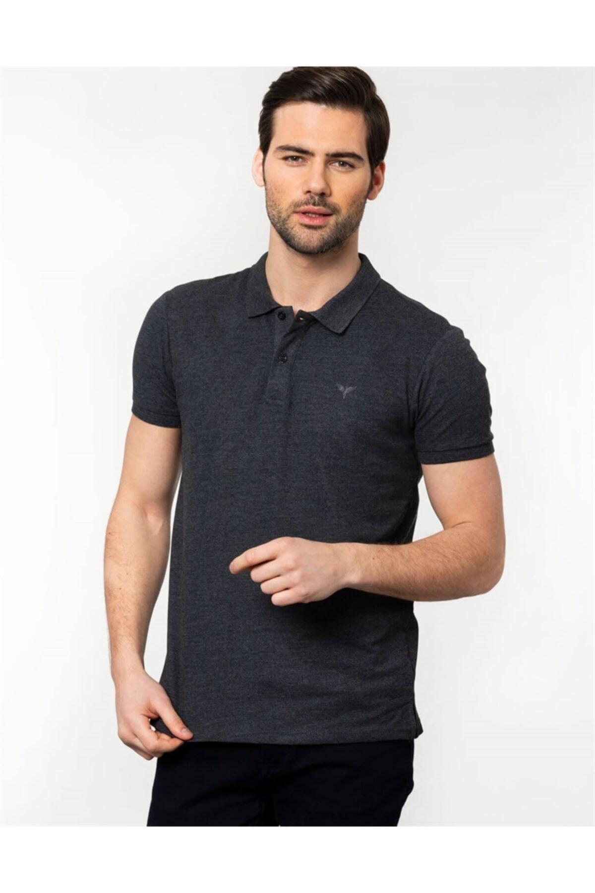 Tudors Erkek Gri Slim Fit Polo Yaka T-shirt 1