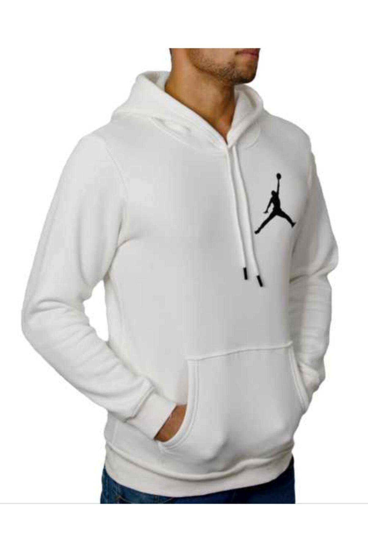 YOUWINNER Erkek Beyaz Kapşonlu 3 Iplik Air Jordan Baskılı Tshirt 1