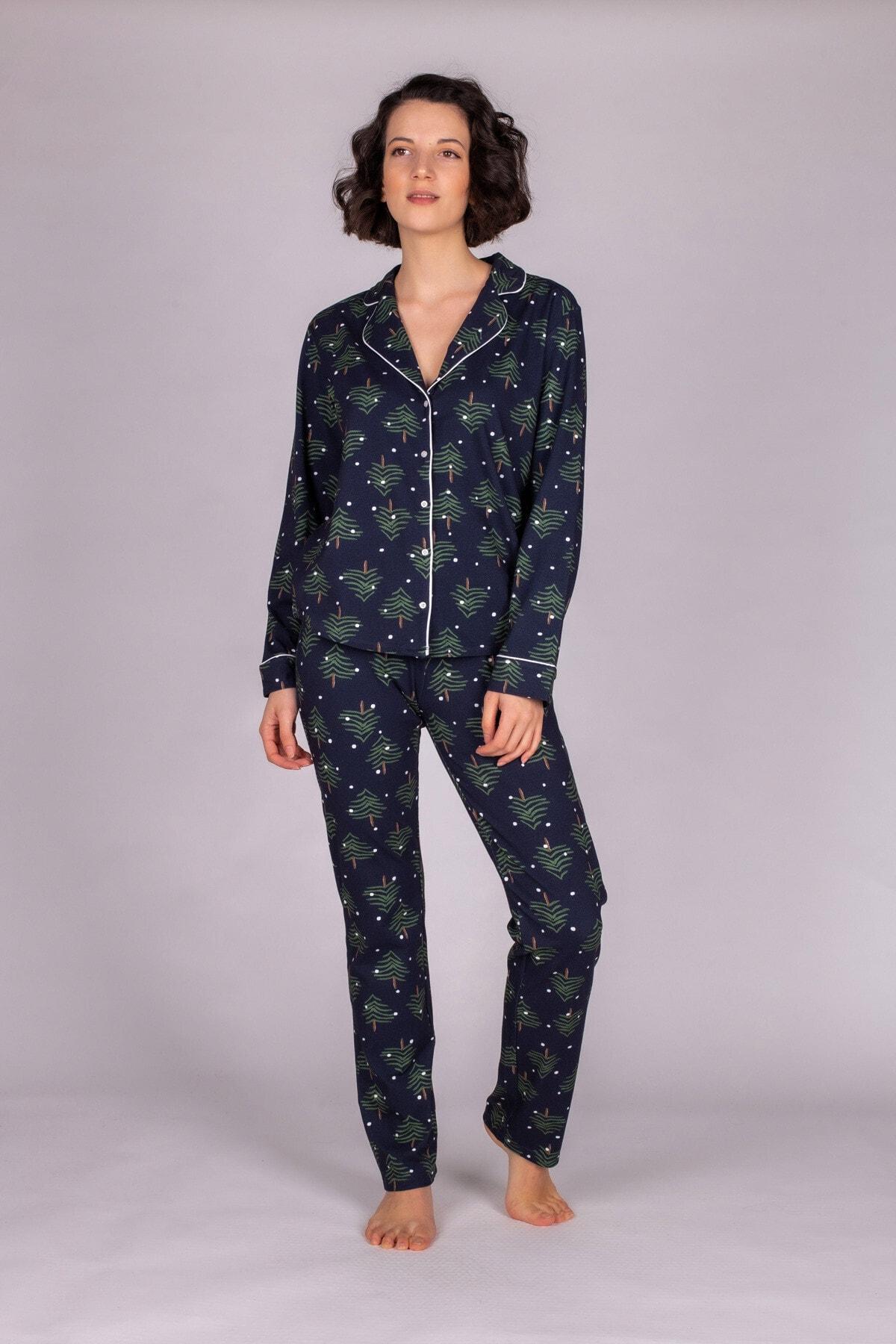 Hays Kadın Lacivert  Pamuklu Uzun Pijama Takımı 1