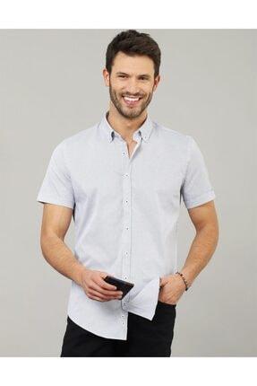 Tudors Slim Fit Kısa Kol Likralı Erkek Gömlek
