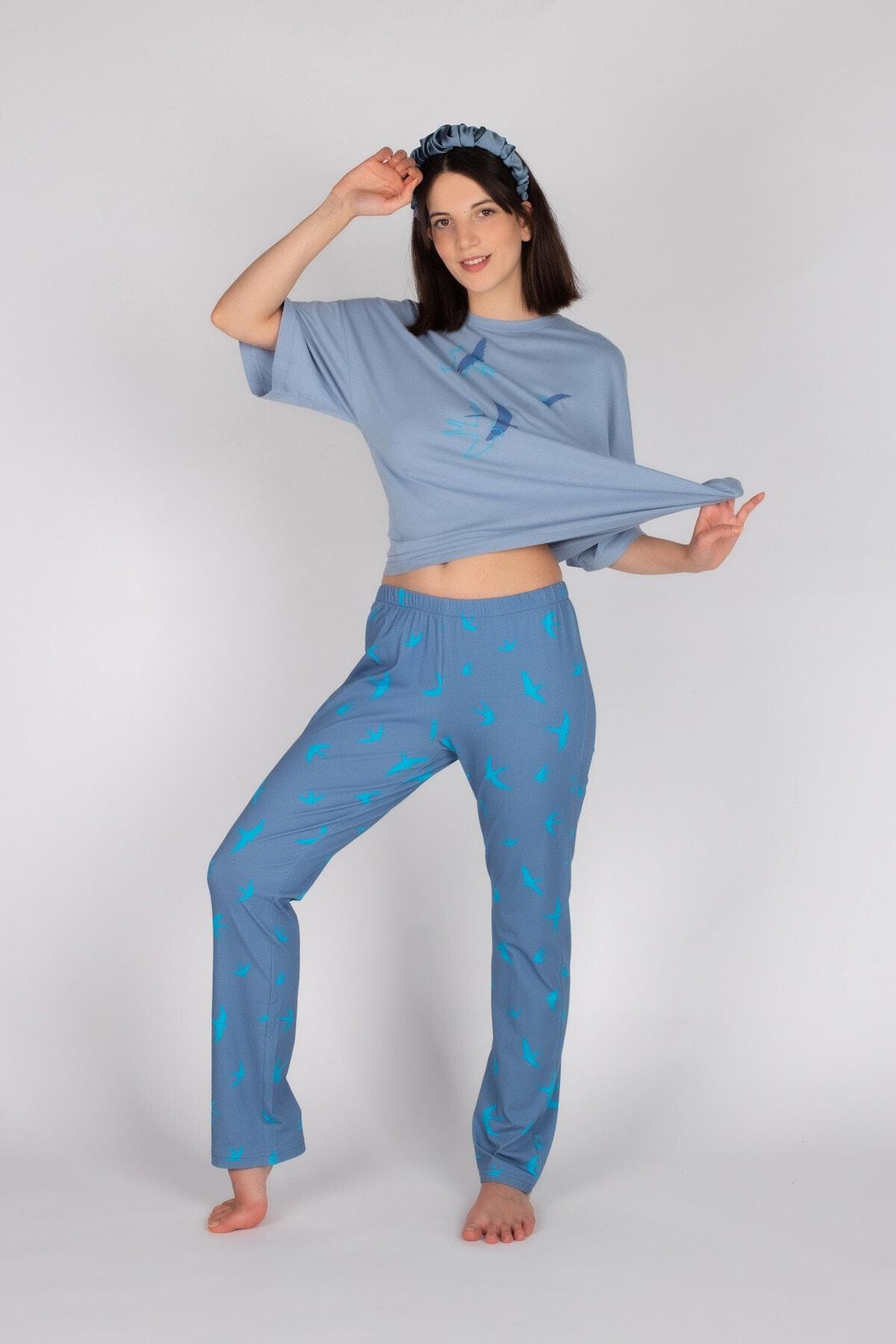 Hays Kadın Mavi Pamuklu Kuş Desenli Kısa Kollu Pijama Takımı 1
