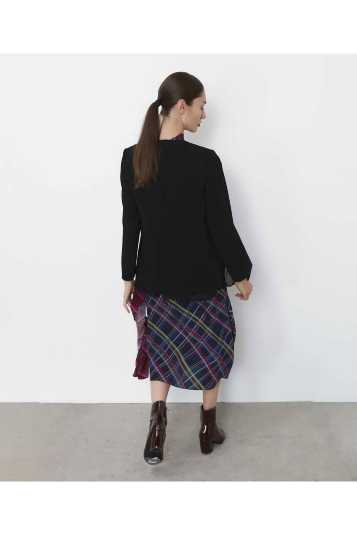 İpekyol Kadın Siyah Şifon Mixli Ceket IW6190005075001 2