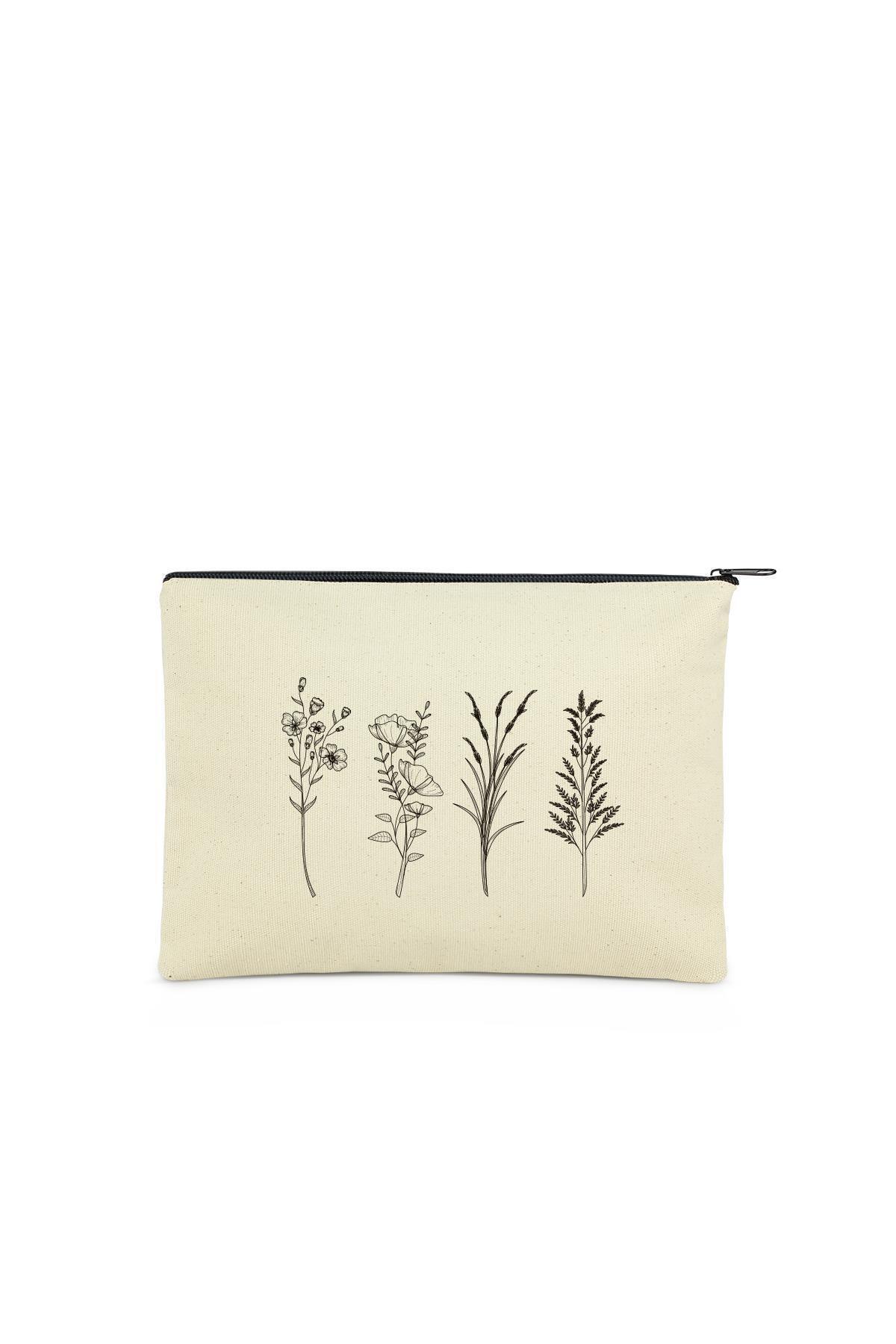 Çınar Bez Çanta Clutch 4 Dallı Çiçek Kanvas Makyaj Çantası 1