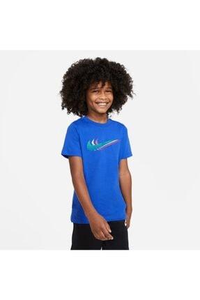 Nike Erkek Çocuk Mavi Nıke U Nsw Tee Trıple Swoosh T-Shirt Cu4572-480