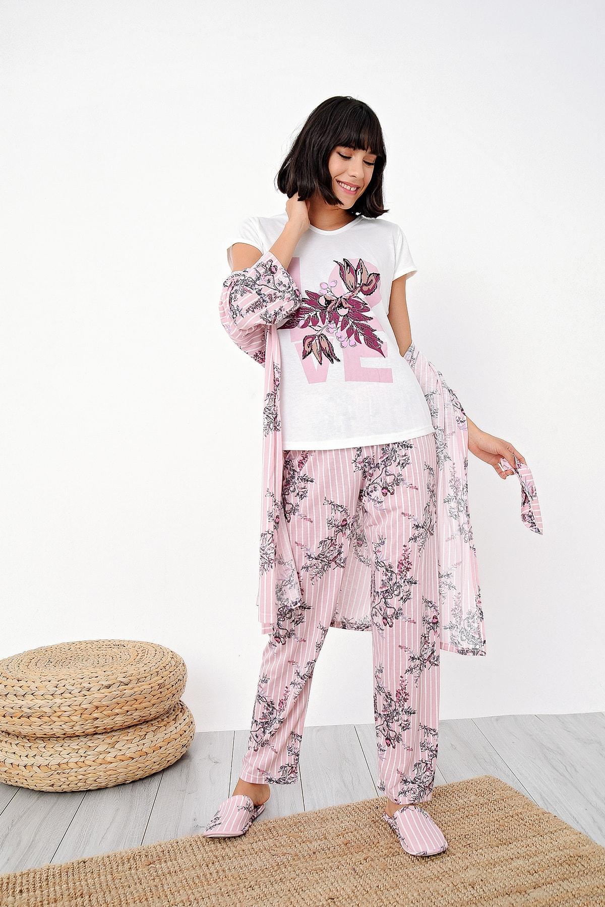 Ecrou Kadın Somon Çizgili Çiçek Desenli Penye 5 Li Pijama 1