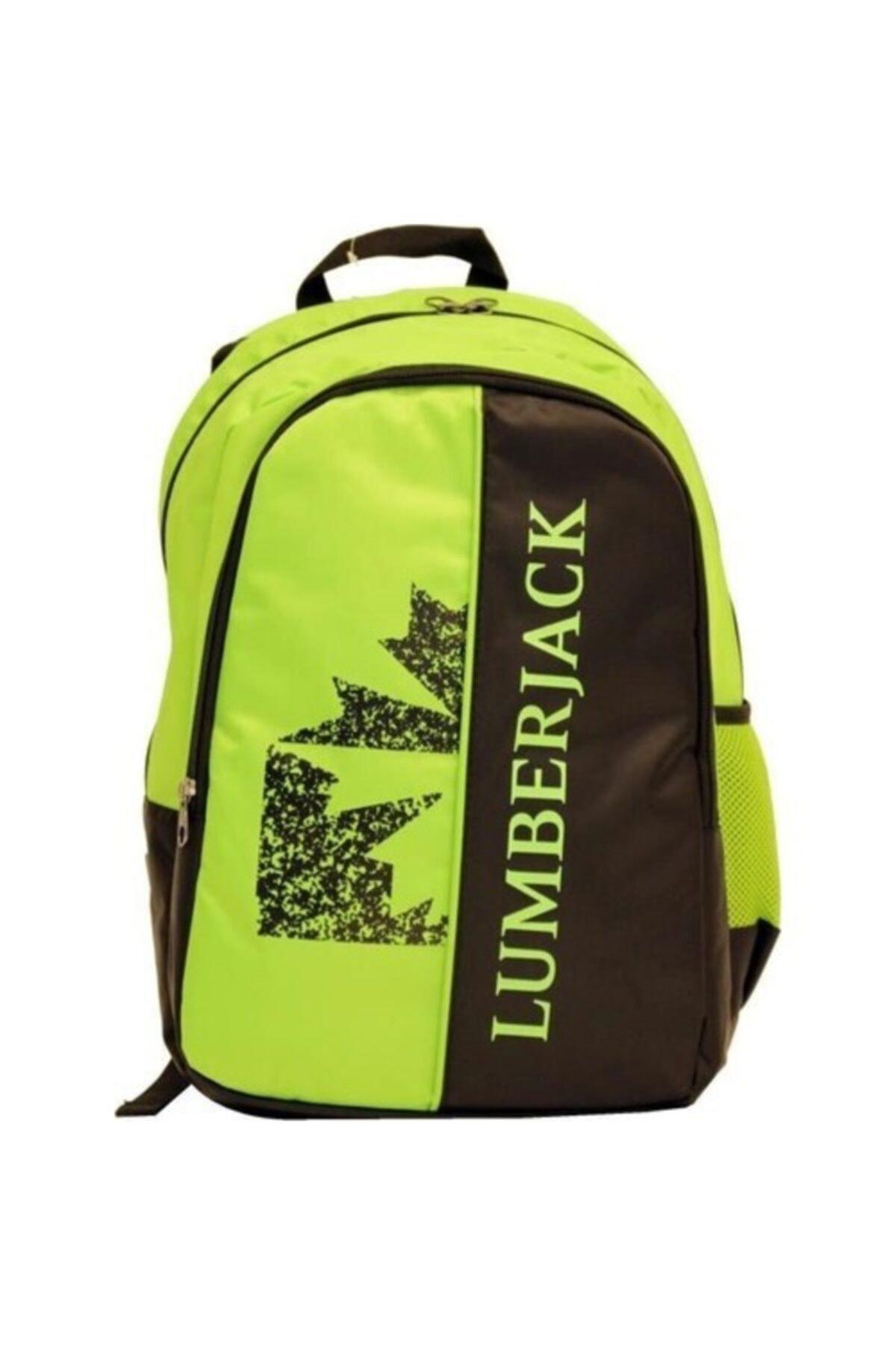 lumberjack Üç Bölmeli Yeşil Siyah Okul Sırt Çantası 8501 1