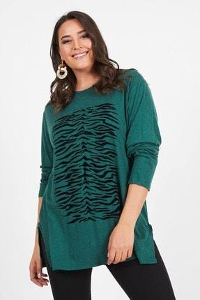 Siyezen Büyük Beden Yeşil Zebra Baskılı Yün Viskon Kazak