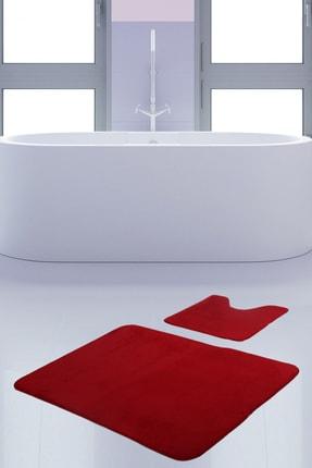 Bonny Home Unicolor Düz Kırmızı 2li Banyo Paspası Halısı Seti Kaymaz Taban Klozet Takımı