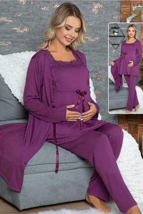 HAYAL Sabahlıklı Lohusa Pijama Takımı - 42346 3lü Sabahlıklı Hamile Pijaması