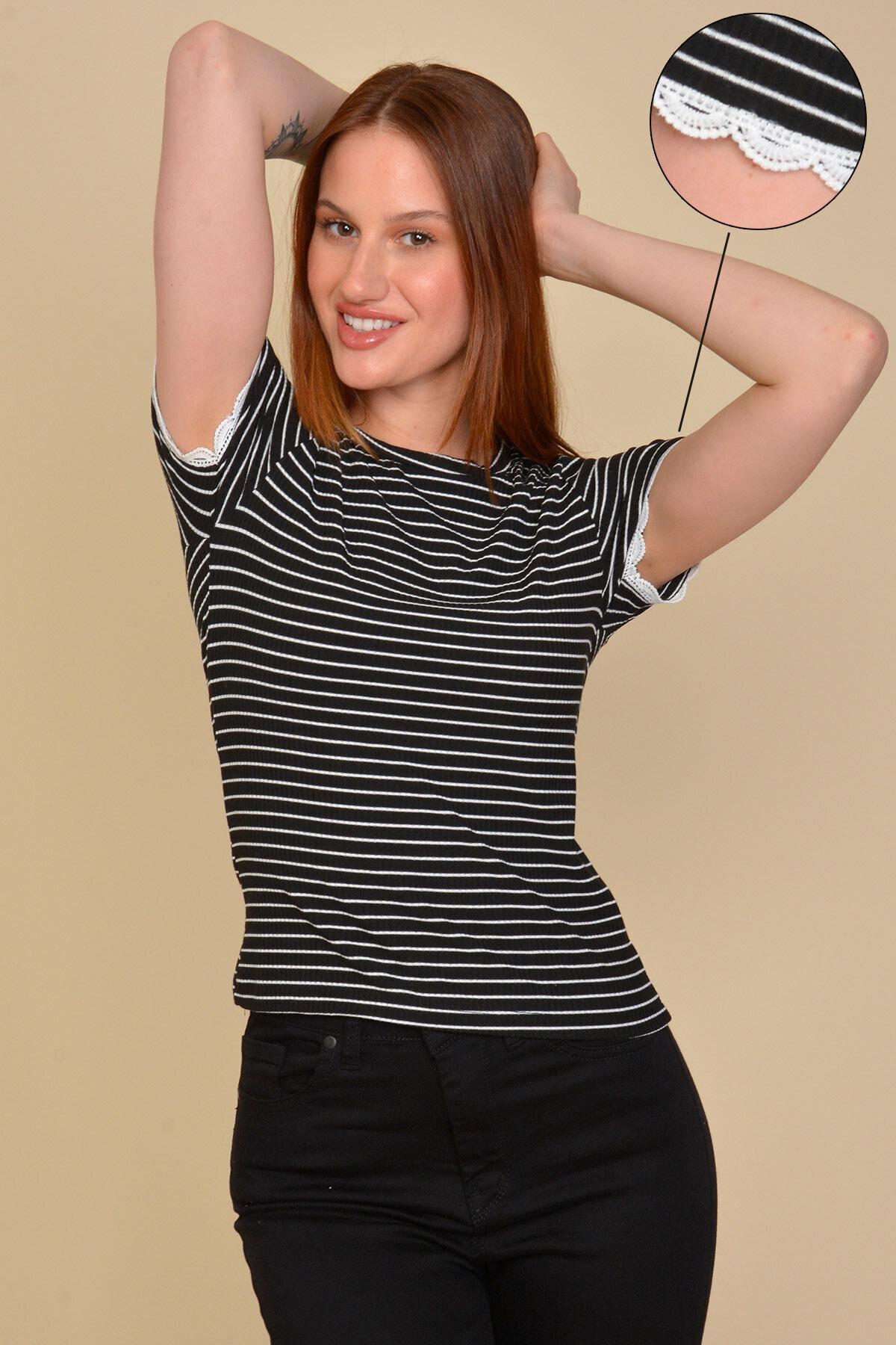 Mossta Kadın Siyah Dantel Detaylı Çizgili T-shirt 1