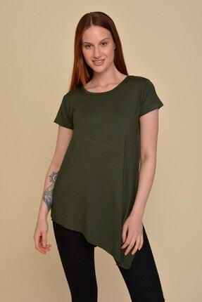 Mossta Kadın Haki Asimetrik Kesim Basic T-shirt