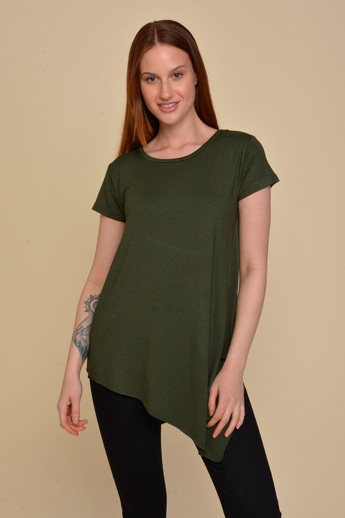 Mossta Kadın Haki Asimetrik Kesim Basic T-shirt 1