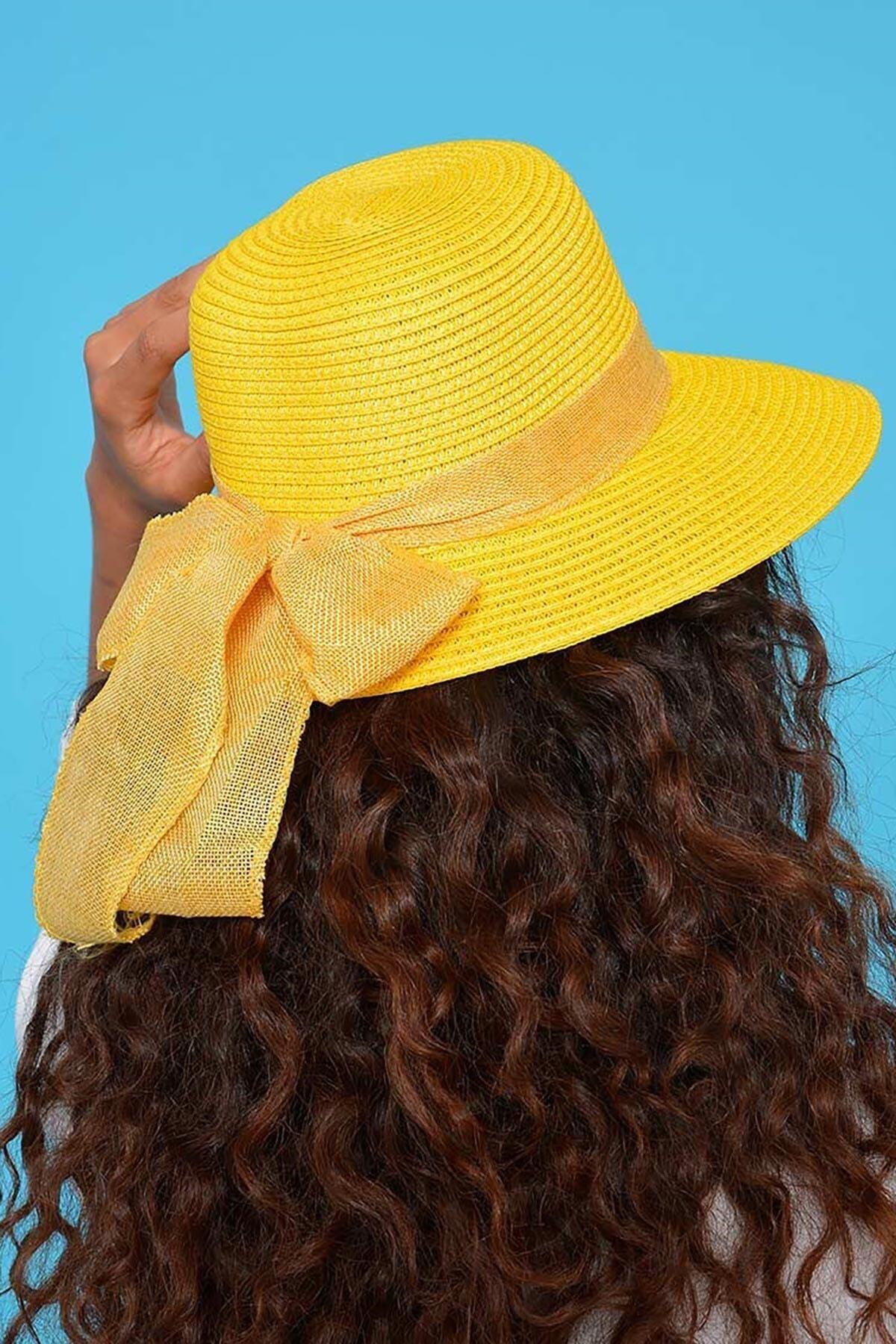 Mossta Kadın Sarı Hasır Şapka 2