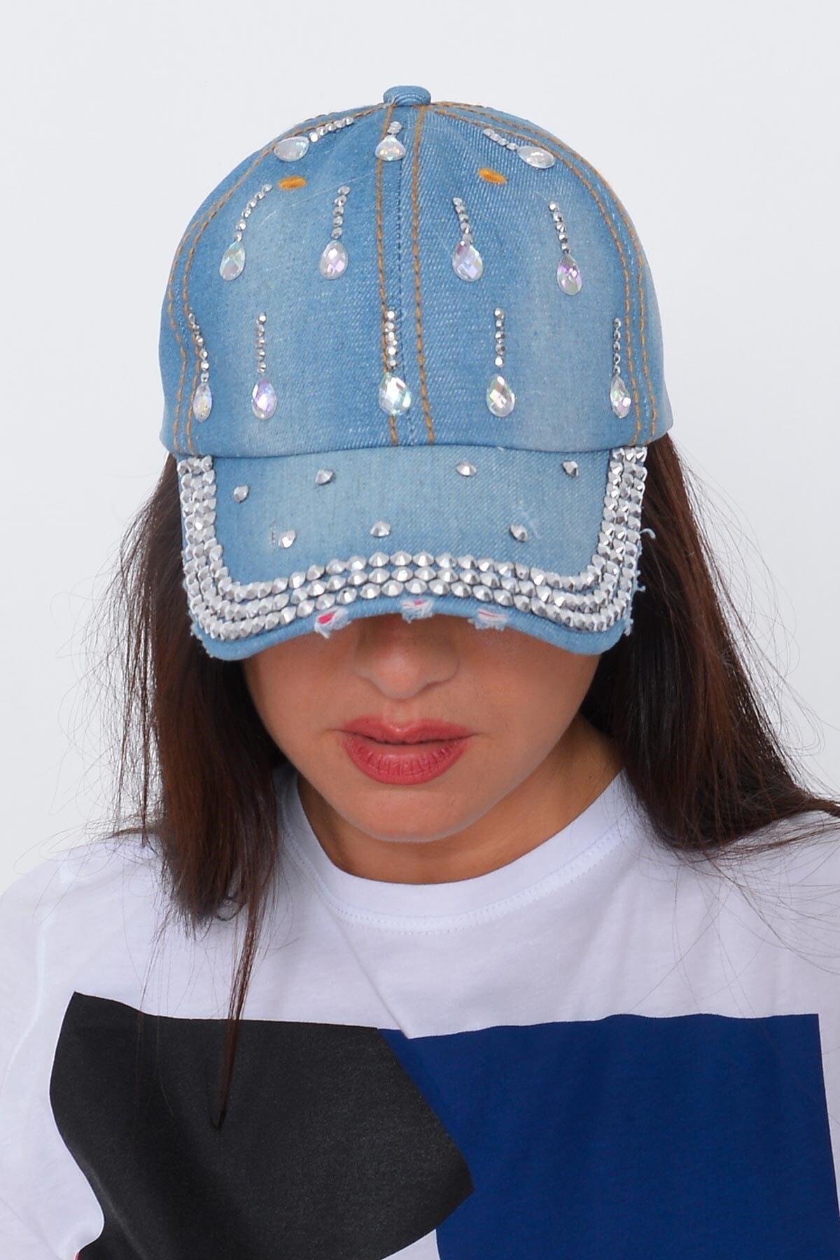 Mossta Kadın Mavi Damla Taşlı Kot Şapka 2