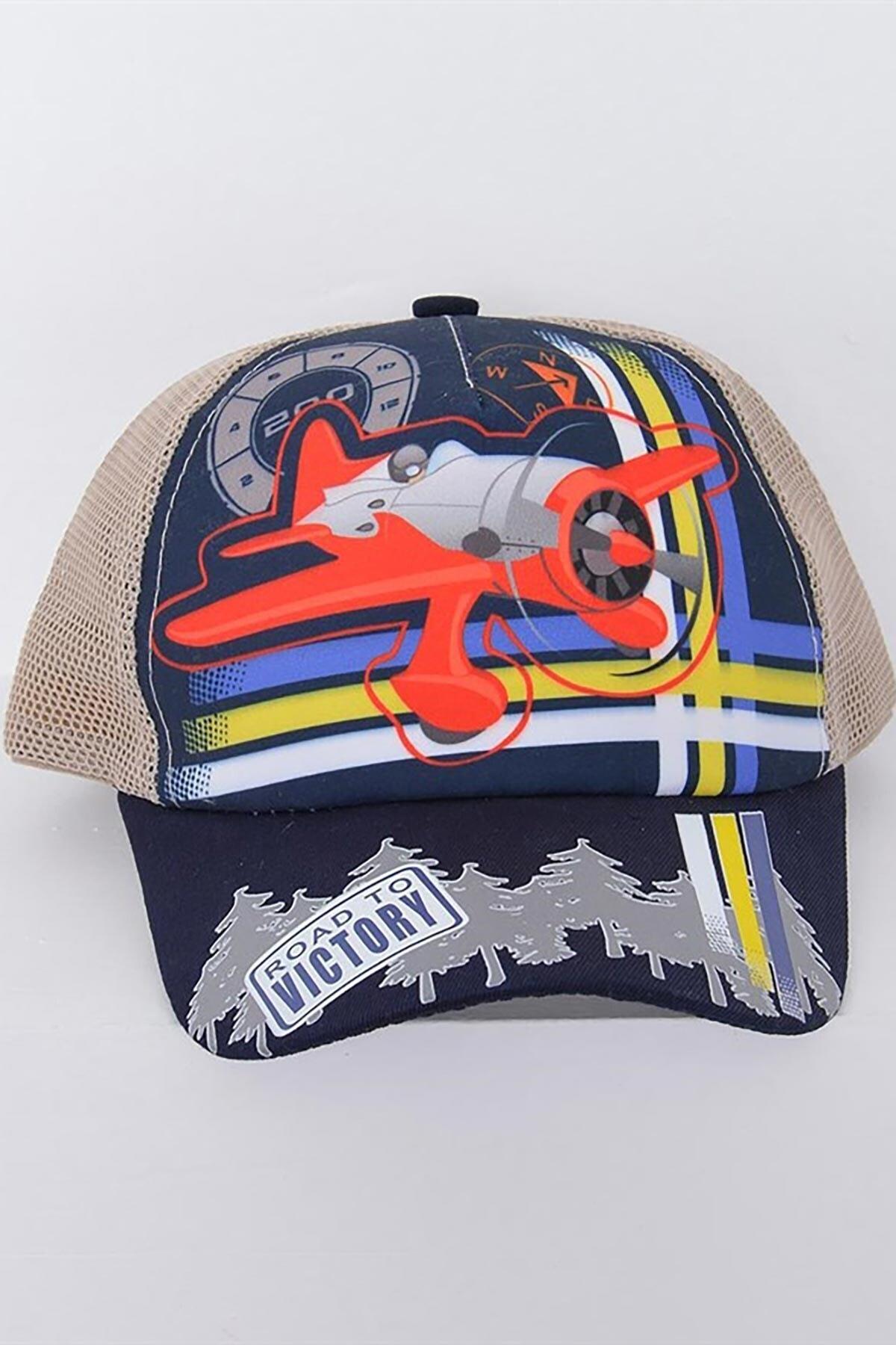 Mossta Erkek Çocuk Bej Uçak Baskılı 6-12 Yaş Şapka 1