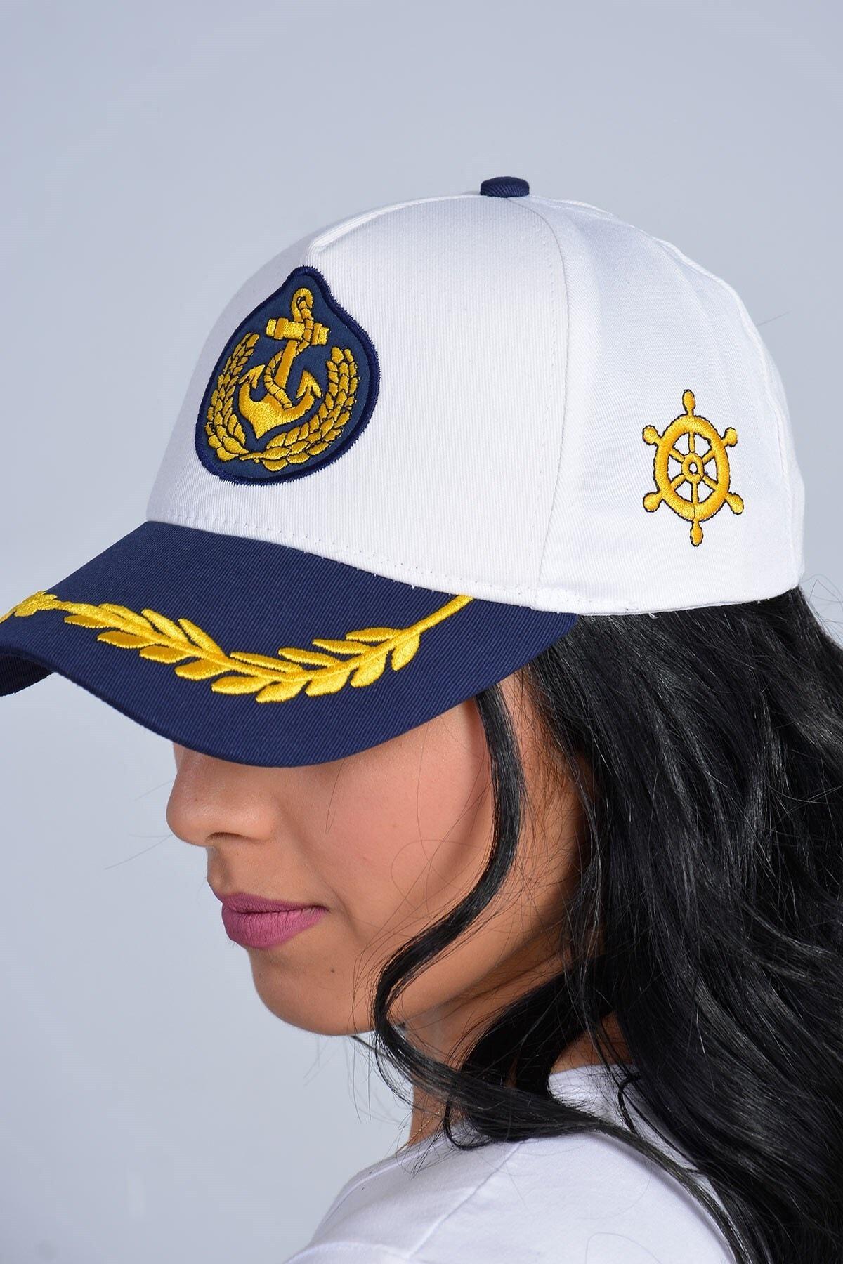 Mossta Unisex Beyaz Kaptan Tasarım Şapka 2