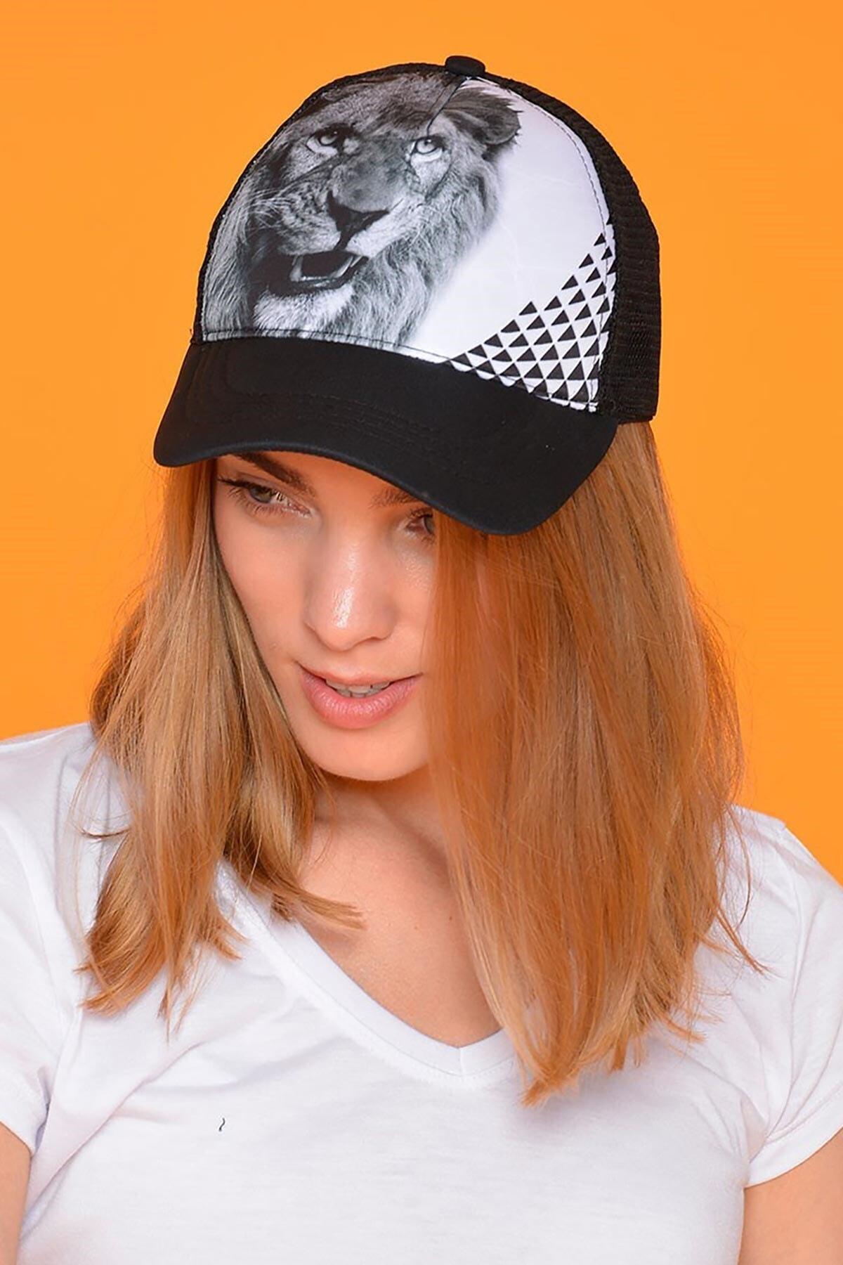 Mossta Unisex Siyah Aslan Figürlü Şapka 1